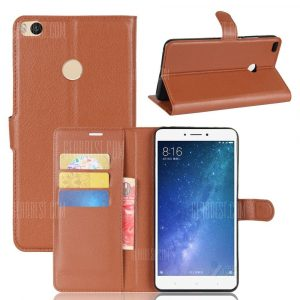 smartylife-Solid Color Litchi Pattern Wallet Style Front Buckle Flip PU Leather Case with Card Slots for Xiaomi Mi Max 2