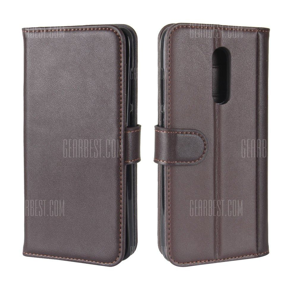 smartylife-Solid Color Real Cow Leather Wallet Style Front Buckle Flip Case with Card Slots for Xiaomi Redmi Note 4