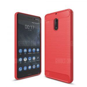 smartylife-Wkae Solid Color Carbon Fiber Texture TPU Soft Protective Case for NOKIA 6