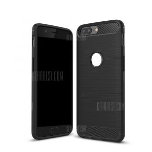 smartylife-Wkae Solid Color Carbon Fiber Texture TPU Soft Protective Case for OnePlus 5