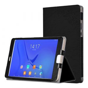 smartylife-Protective PU Leather Case with Kickstand for Teclast T10 Floral Series 10.1 Inch with Adjustable Support Armband - Black