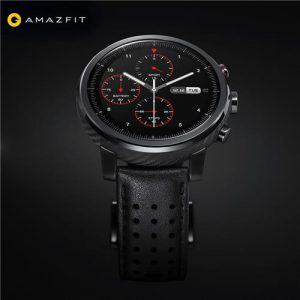 smartylife-Original Xiaomi HUAMI AMAZFIT Stratos+ Smart Sports Watch 2S Version 1.34 Inch 2.5D Sapphire Screen 5ATM Water Resistant GPS Firstbeat Swimming Mode With Leather Strap - Black