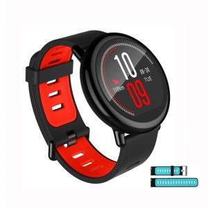 smartylife-Bundle English Version Xiaomi HUAMI AMAZFIT Pace Smart Sports Watch Black + Replacement Silicone Strap Black Blue
