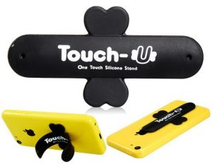 smartylife-Touch-U Magic Sticker Cross Shaped Silicone Phone Stand Holder - Black