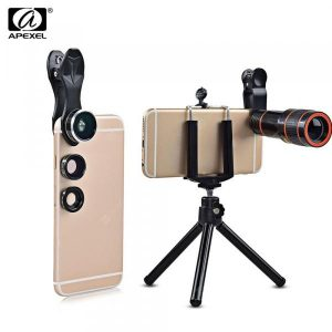 smartylife-APEXEL APL - HS12XDG3ZJ 12X Zoom Telephoto + 0.63X Wide Angle + 198 Degree Fisheye + 15X Macro Lens + Tripod 5 in1 Clip External Phone Camera  Gearbest
