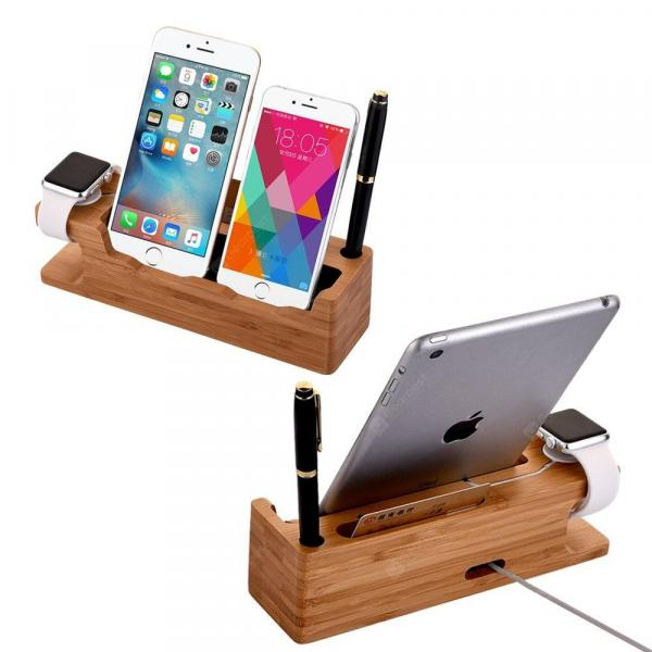 smartylife-Bamboo Wooden Charging Dock Station Holder Stand Desktop Bracket for iWatch Smartphone  Gearbest
