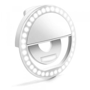 smartylife-LED Ring Selfie Light Clip for Smart Phone Camera Round Shape - Rechargeable  Gearbest