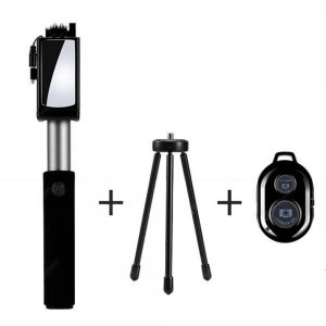 smartylife-Universal Mirror Wired Extendable Selfie Stick Bluetooth Tripod Monopod  Gearbest