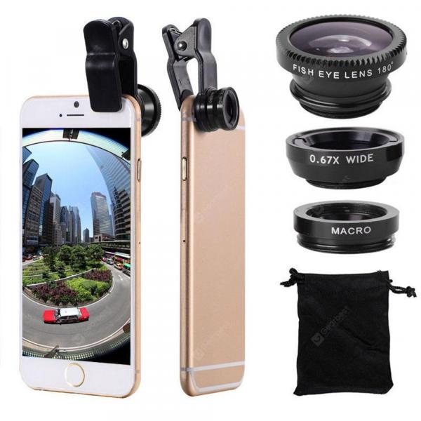 smartylife-3 in 1 Mobile Phone Lenses Fish Eye Wide Angle Macro Camera for iPhone X / 8 Plus Xiaomi Huawei Samsung